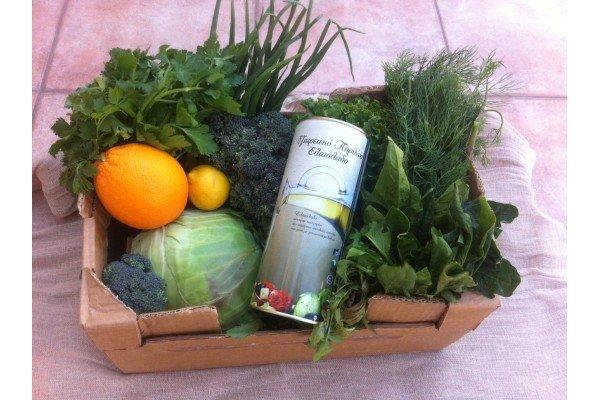 Καλάθι βδομάδας με φρούτα-λαχανικά εποχής & ελαιόλαδο 1 λίτρο